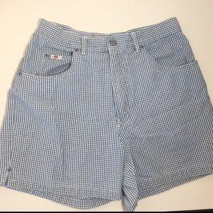 BILL BLASS Vintage Checker Print Denim Jean Shorts